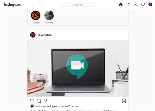 Tela Instagram para Windows