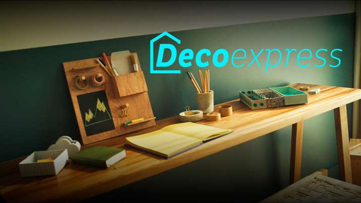 Logotipo sobre mesa do programa Deco Express do Discovery H&H